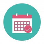 Turkoosilla pohjalla kalenteri, jossa on pinkkejä yksityiskohtia