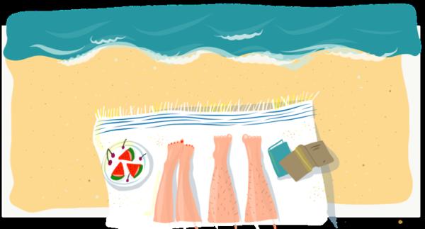 Kuvituskuva, jossa on ylhäältäpäin piirretty hiekkarannalla loikoilevien ihmisten jalat.