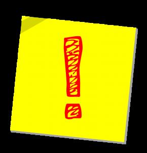 Punainen, piirretty huutomerkki keltaisella taustalla