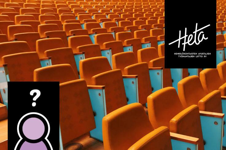 Kuvassa on monta tyhjää oranssia tuoliriviä, alakulmassa on kasvoton piirroshahmo, jonka yläpuolella on kysymysmerkki.