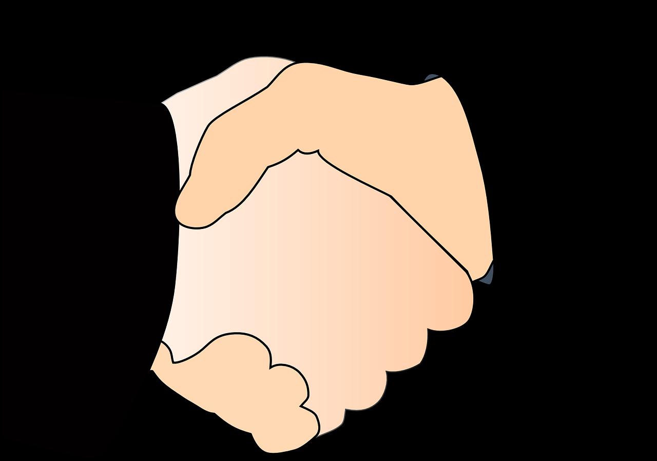 Piirroskuva kättelevät kädet
