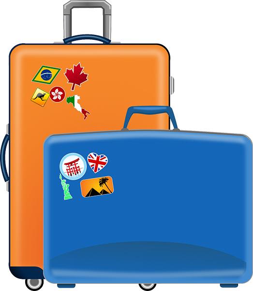 Oranssi ja sininen piirretty matkalaukku, joihin on liimattu matkakohteista kertovia tarroja.