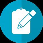 Yksinkertainen piirretty kuva, jossa on sinisellä taustalla valkoinen lehtiö ja kynä.