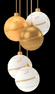 Kuvassa on valkoisia ja kultaisia joulupalloja